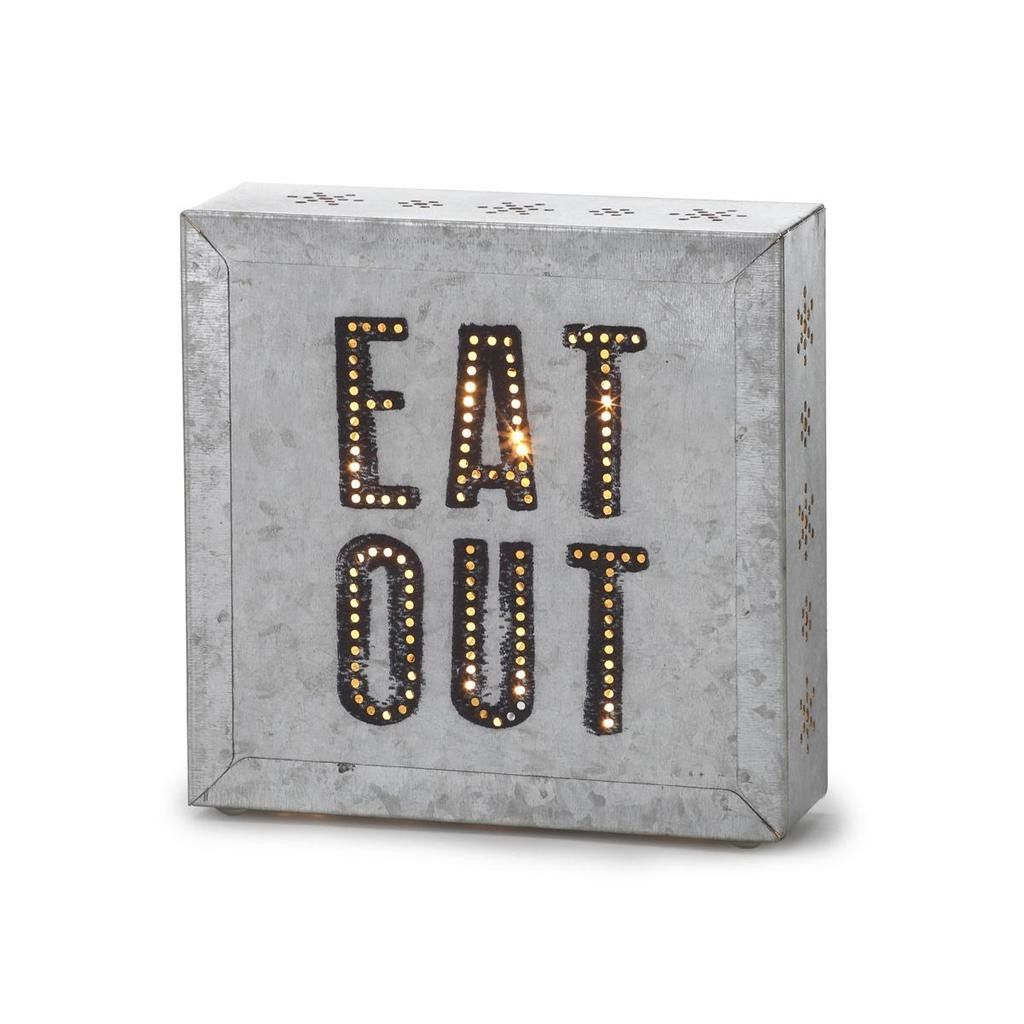 Silvestri life is bright metal wall sign and light kit eat out
