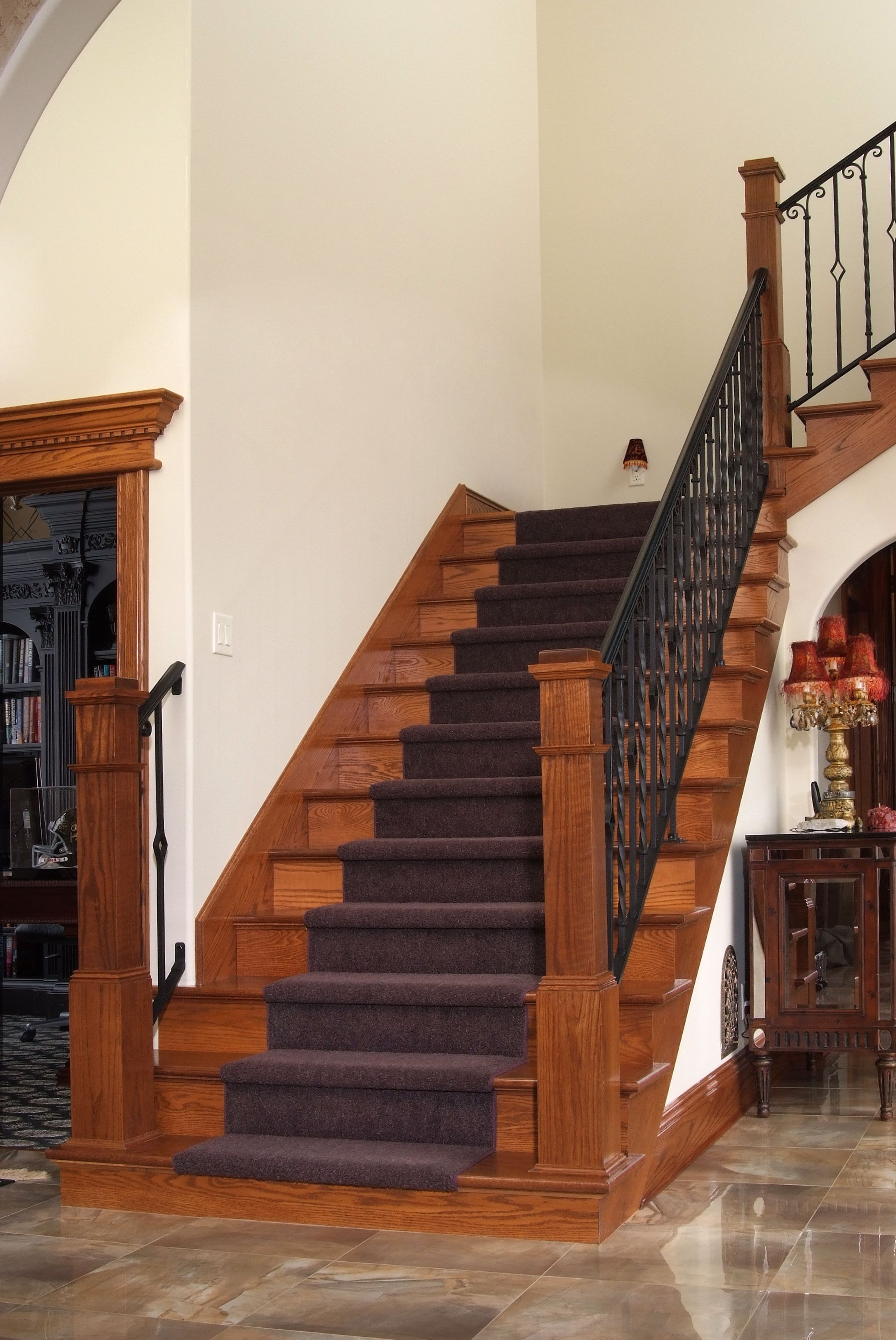 Red Oak Staircase With LJ4091 Box Newels And Baird Brothers Red Oak Stair  Treads And Risers