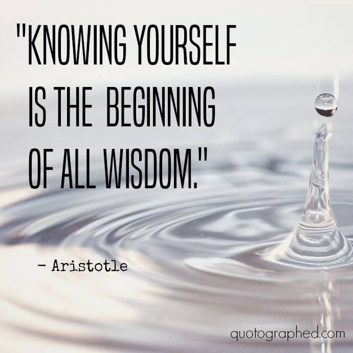 Knowing Yourself Is The Beginning Of All Wisdom Aristotle Quotes Wisdom Quotes Knowledge Quotes