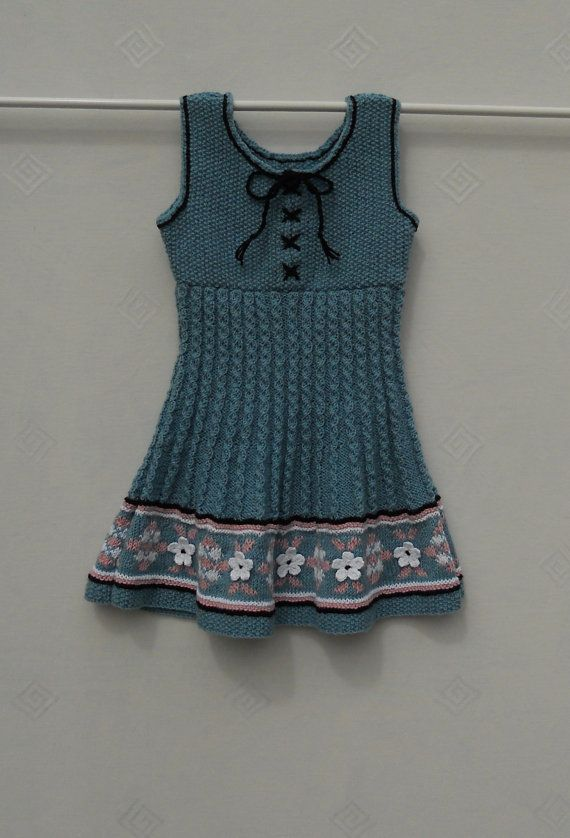 Baby/Girl's blue hand knitted dress/pinafore dress age 1-2 years ...