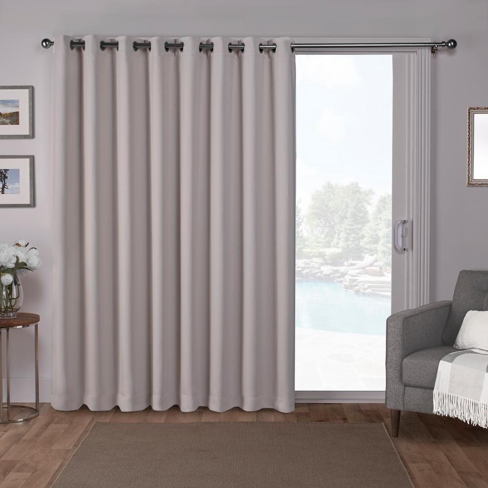 Sateen Patio 100 In W X 84 In L Woven Blackout Grommet Top Curtain Panel In Silver 1 Panel Eh8193 11 2 84g Home Curtains Panel Curtains Patio Curtains