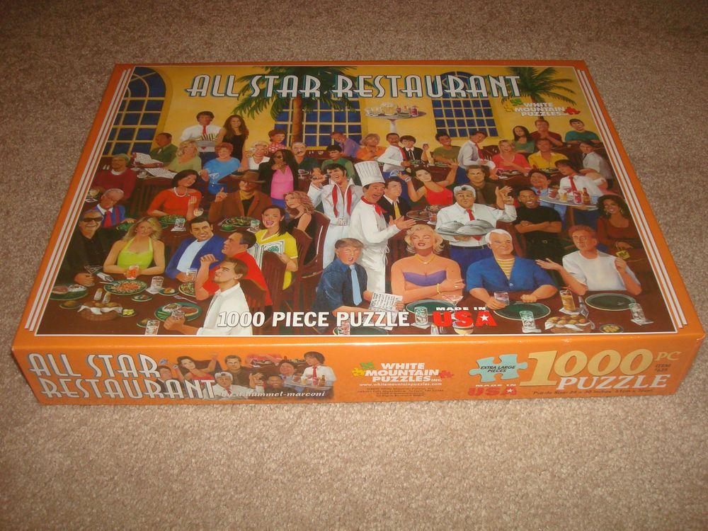 SEALED All Star Restaurant 1000 Puzzle NEW hummel-marconi White Mountain Celebs #WhiteMountain