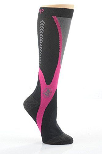 415f64bb49df2 Powerstep Womes's Recovery Socks (Large, Black / Pink). 20-30 mm Hg ...