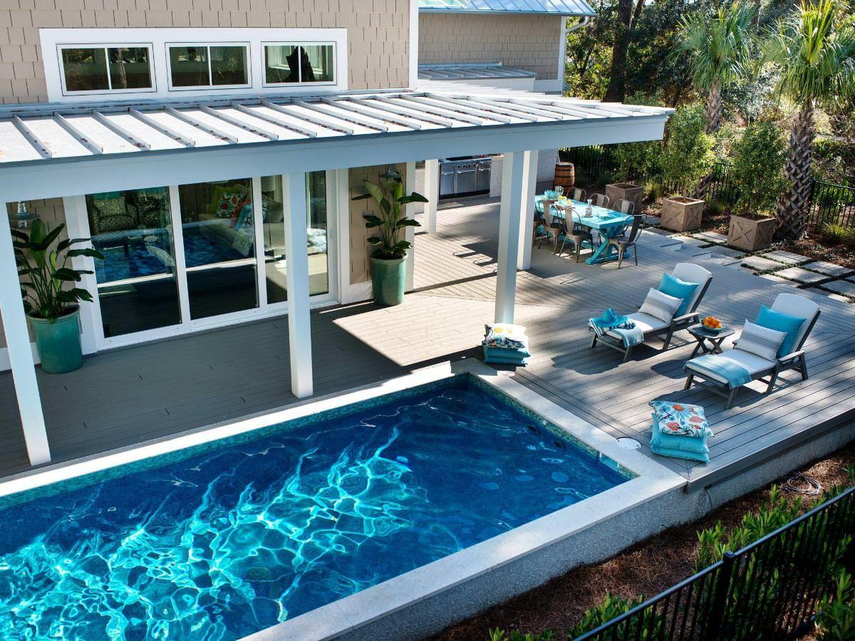 Inground Pool Designs For Sloped Yards Inground Pool Designs Inspired Home Designs Small Backyard Pools Pool Houses Small Pool Design