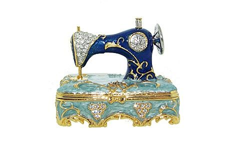 Swarovski Crystal Antique Blue Sewing Machine Figurine Keepsake Trinket Box 50 00 Swarovski Crystal Figurines Crystal Figurines Swarovski Crystals