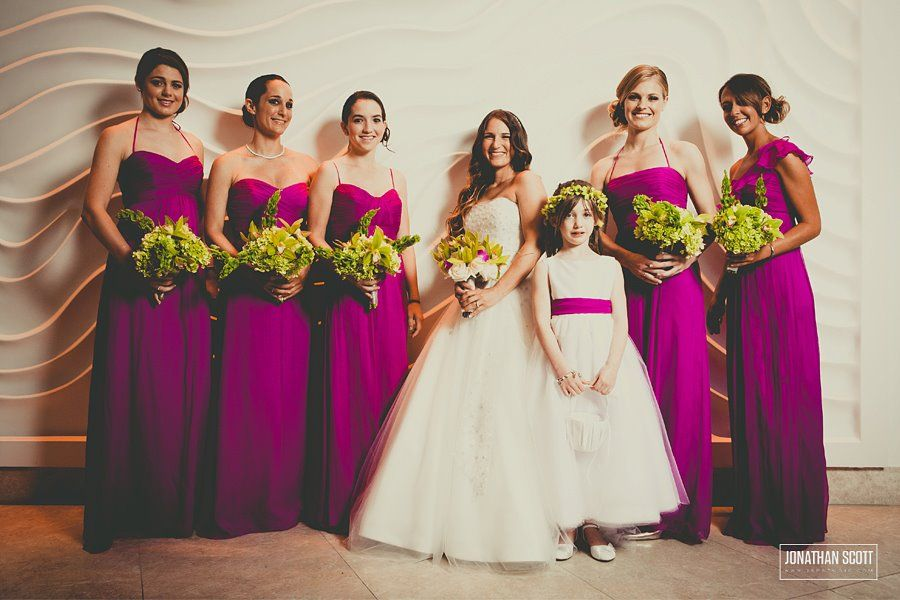Bright Pink Bridesmaids dressed. beautiful flower girl dress ...