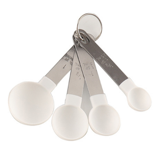Measuring Cup and Spoon Multipurpose Tool for Baking with Stainless Steel Handle - WhiteSpoon