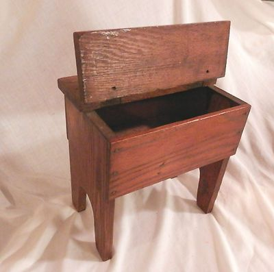 Antique Vintage Hinged Top Storage Oak Wooden Bench Stool