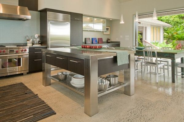 Stainless Steel Kitchen Islands Ideas And Inspirations Stainless Steel Kitchen Island Kitchen Design Kitchen Island With Seating