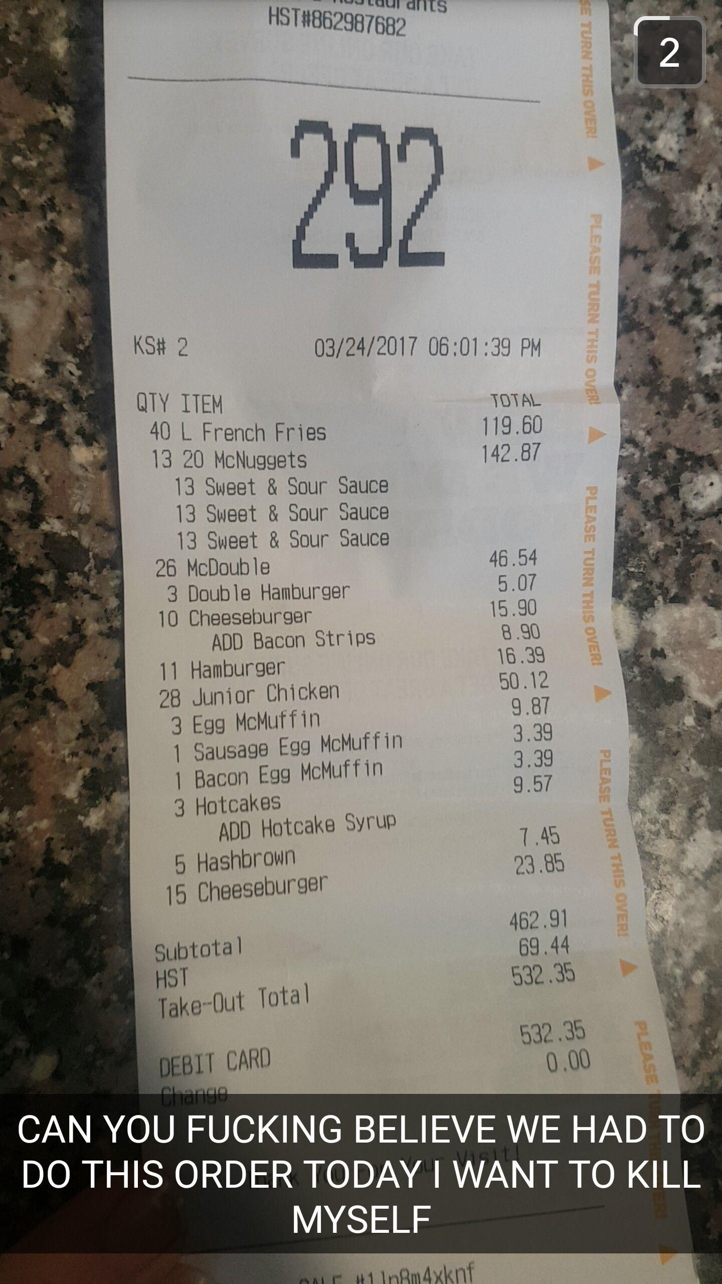 Largest order i've ever seen $500 #McDonalds #food #fastfood #delicious #eating #happymeal
