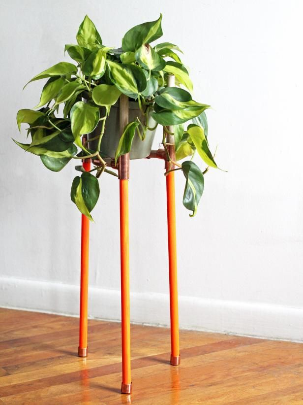 How To Make A Dowel And Brass Plant Stand Trending Decor Diy Plant Stand Diy Plants
