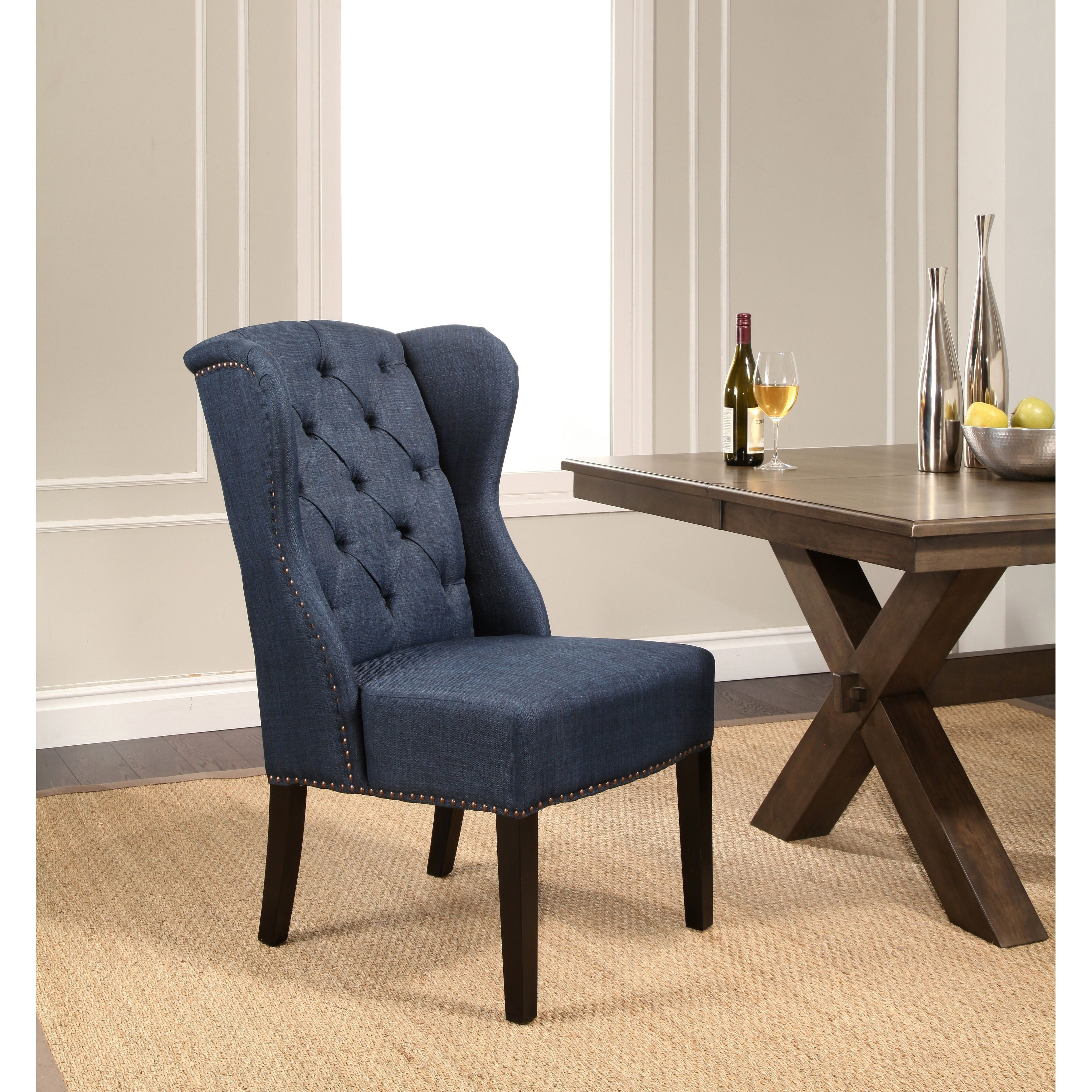 Wingback Dining Room Chairs Abbyson Sierra Tufted Fabric Wingback Dining Chair Grey