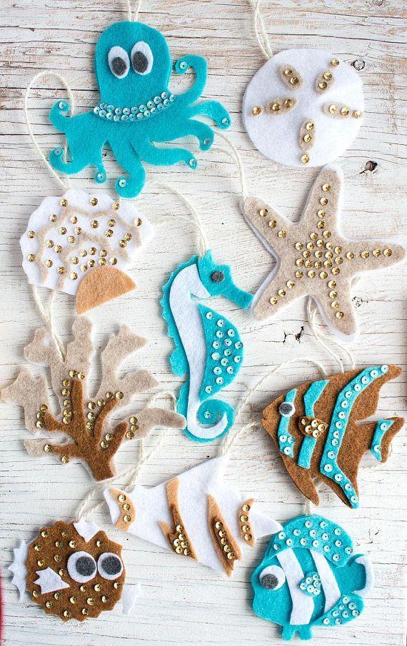 Photo of 10 Ocean Life PATTERN felt ornaments, PDF no sew ornament, gift plushie, seahorse, coastal nursery decor