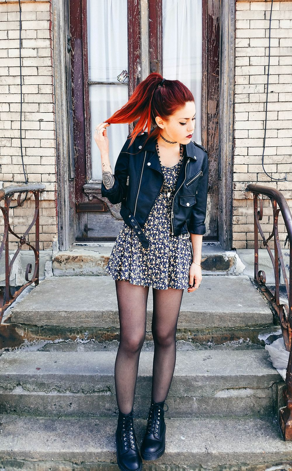 Floral dress, leather jacket and docs