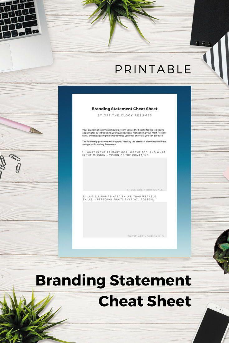 Branding Statement Cheat Sheet Doityourself Resume