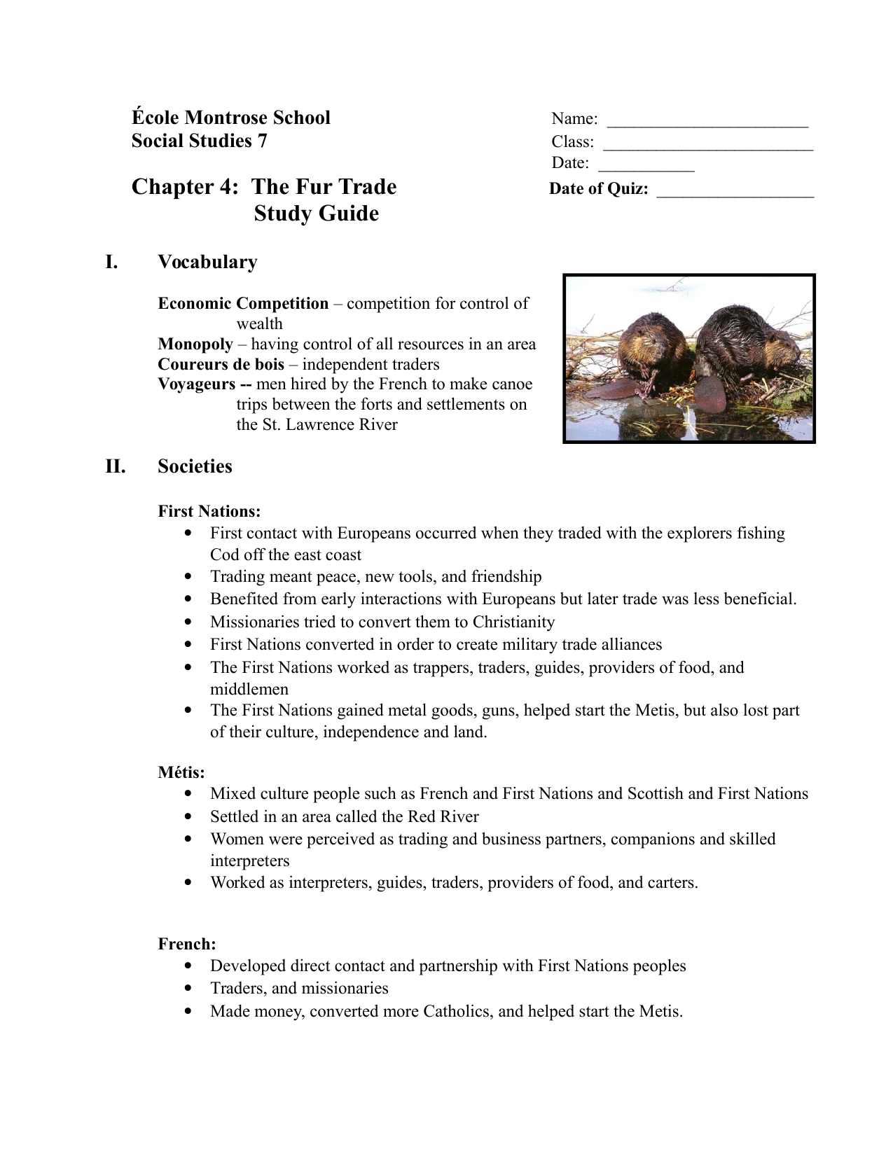 Our Canada Chapter 4 Study Guide