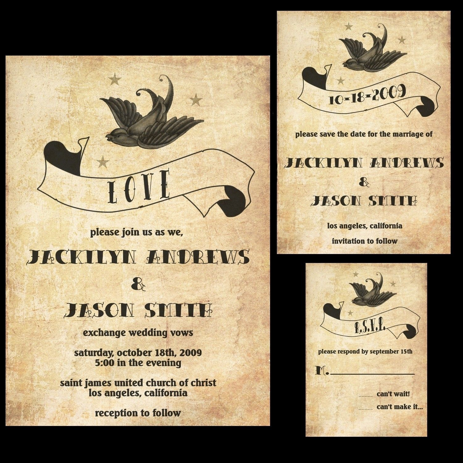 Rockabilly Wedding Invitation Set Featuring a Sparrow, Banner and ...