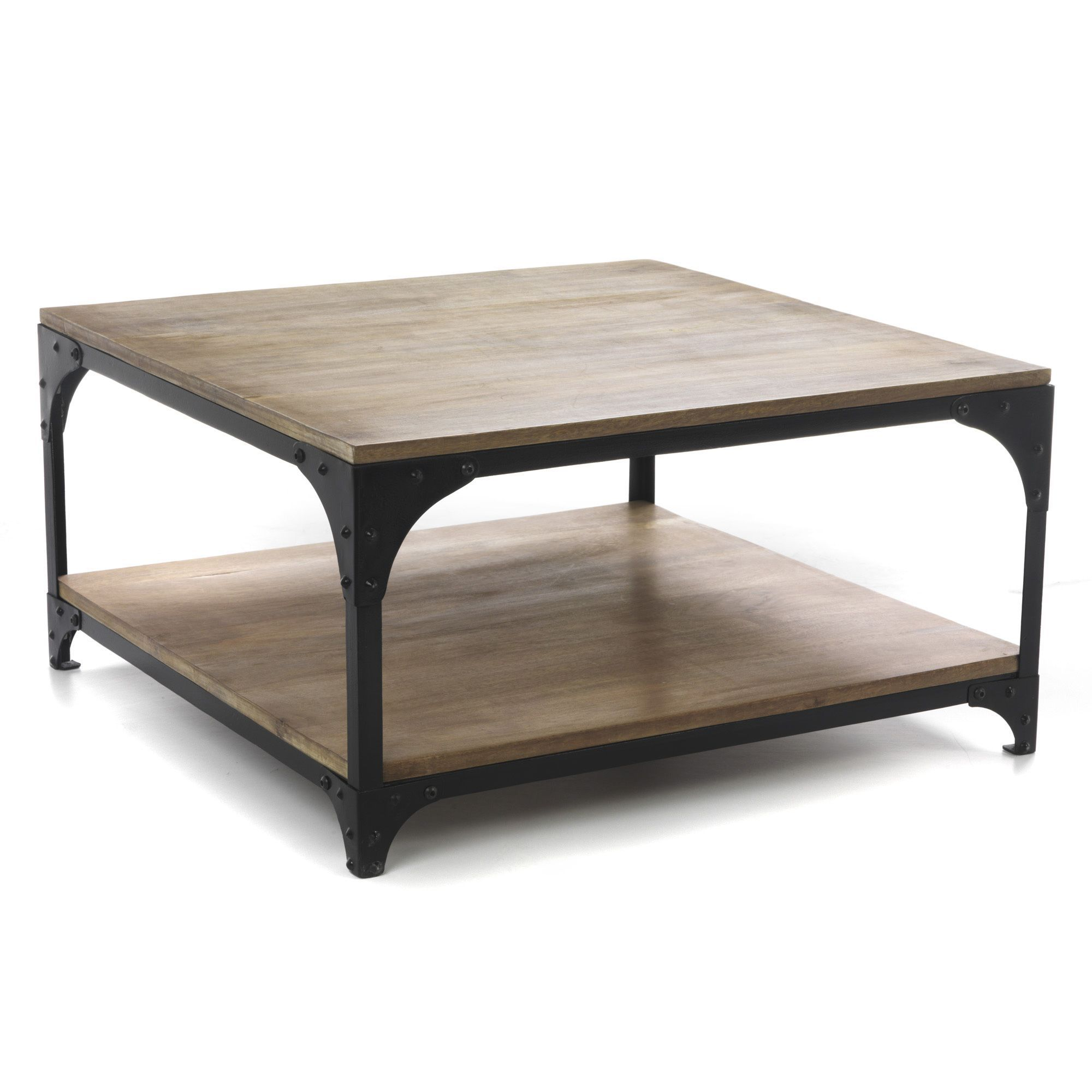 Table basse carr e industrielle naturel new ately les tables basses tab - Table basse verre roulette industrielle ...