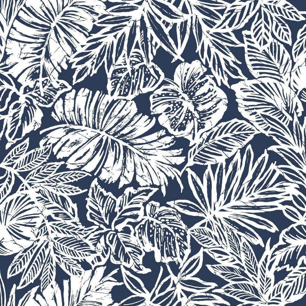 Roommates Batik Tropical Leaf Peel Stick Wallpaper Navy White Peel And Stick Wallpaper Tropical Leaves Tropical Wallpaper