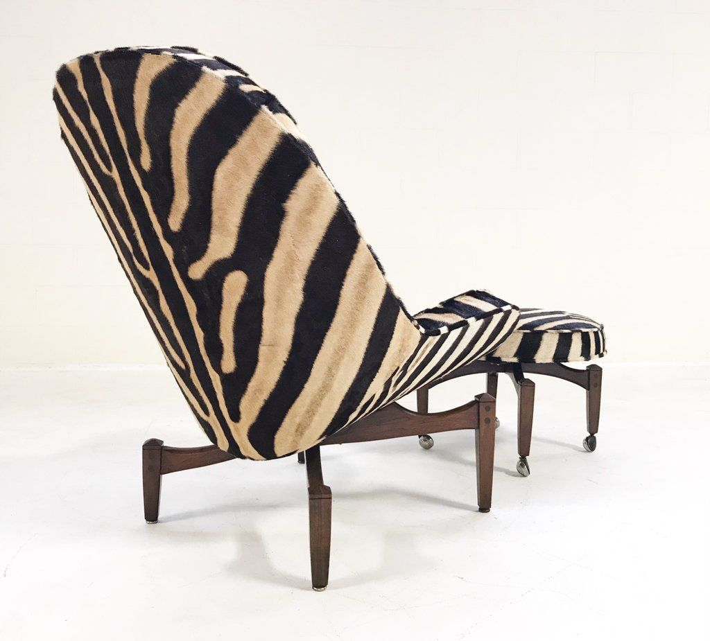 Lounge chair with ottoman in zebra hide zebra hide mid