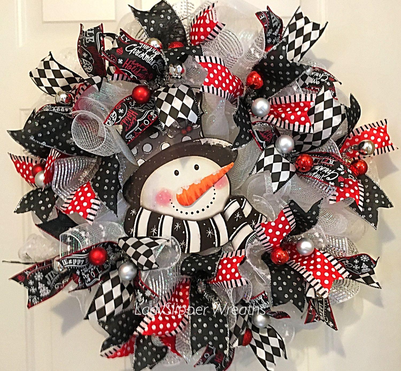Christmas Wreath Deco Mesh Wreath Holiday Wreath Seasonal Wreath Snowman Wreath Red W Christmas Mesh Wreaths Deco Mesh Christmas Wreaths Christmas Wreaths
