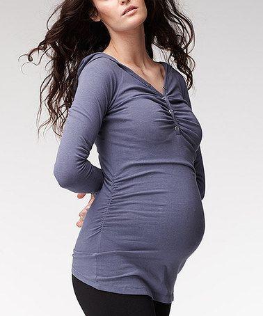 Navy Basic Lslv Maternity Hoodie Long-Sleeve Tee by Soon Maternity #zulily #zulilyfinds