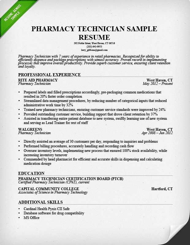 Read Our Pharmacy Technician Resume Sample And Learn Emphasize
