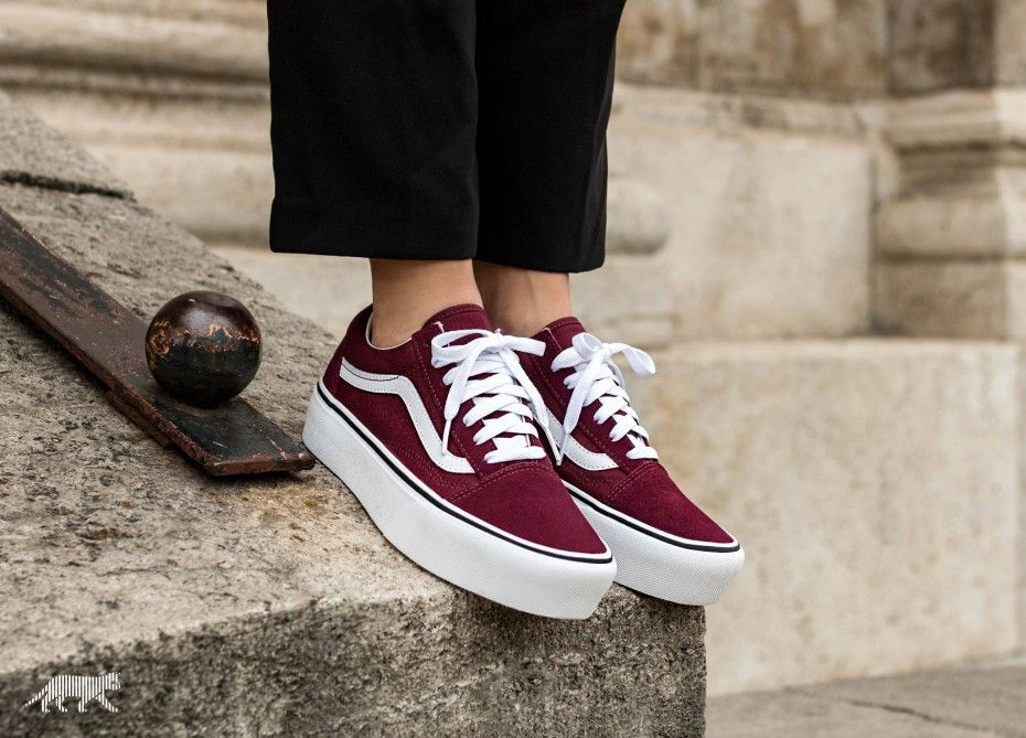 old skool platform vans red