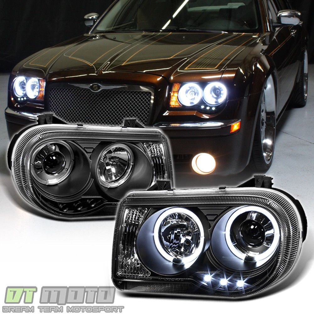 Details About Black 2005 2010 Chrysler 300c Led Drl Halo Projector