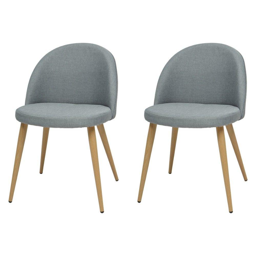 chaise scandinave tissu rembourr forme arrondie x2 cuisine salle manger mobilier - Chaise Scandinave Rembourree
