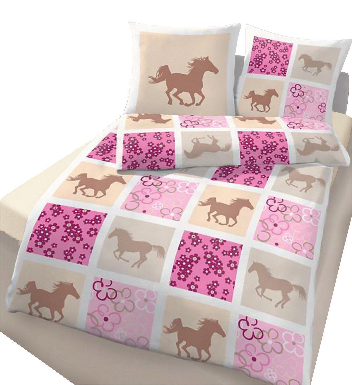 IDO Renforcé Bettwäsche 2tlg. Beige-Rosa-Pferde 47757-209 Kinder ...