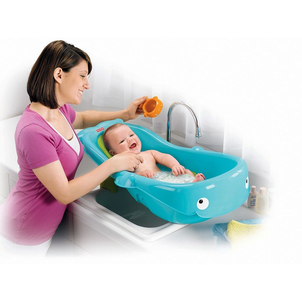 Adorable whale bath center grows with baby to make bath time ...
