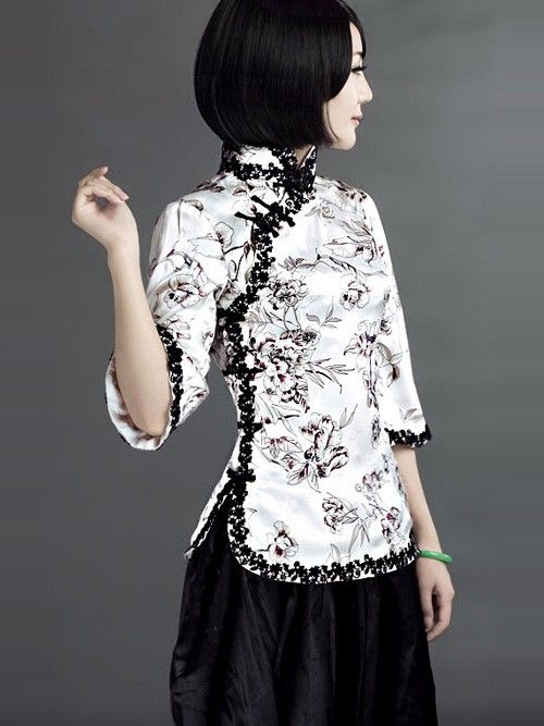 f1b8d6117df White Silk Qipao Top / Chinese Blouse. This top sure has some cool designs.