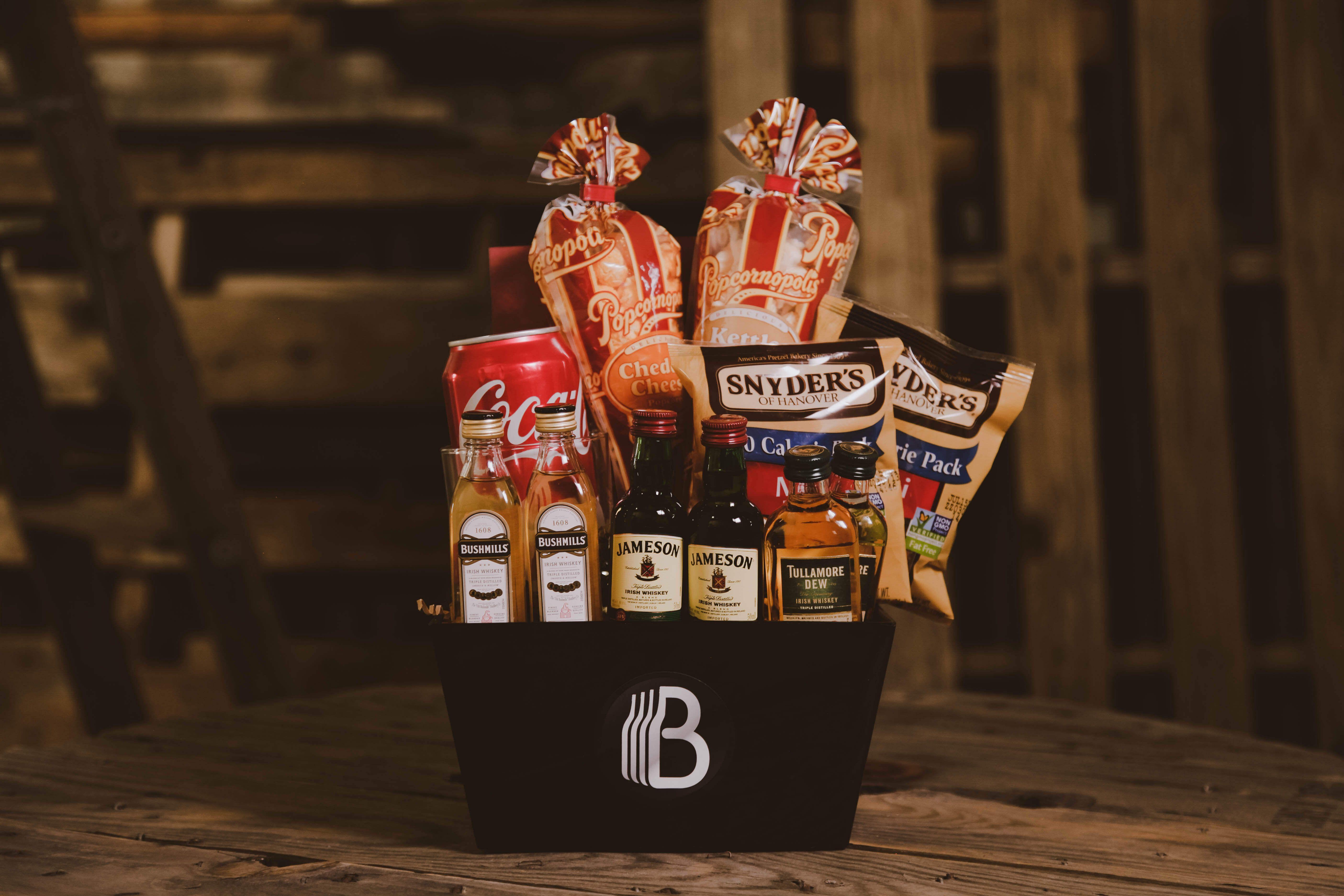 Luck of the irish whiskey sampler gift baskets for men
