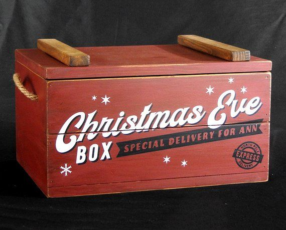 Christmas Eve Box with lid, family Christmas Crate, Xmas crate