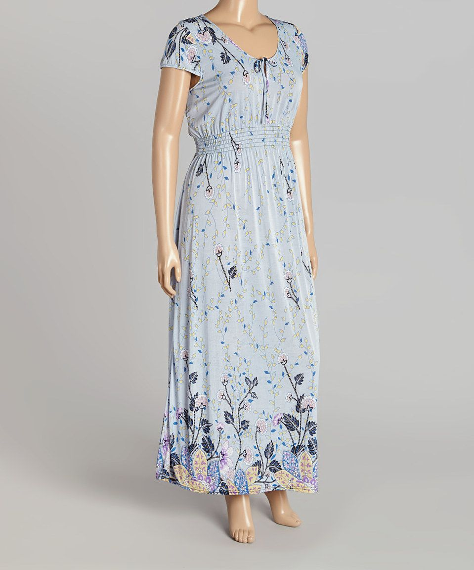 Loving this baby blue floral maxi dress plus on zulily