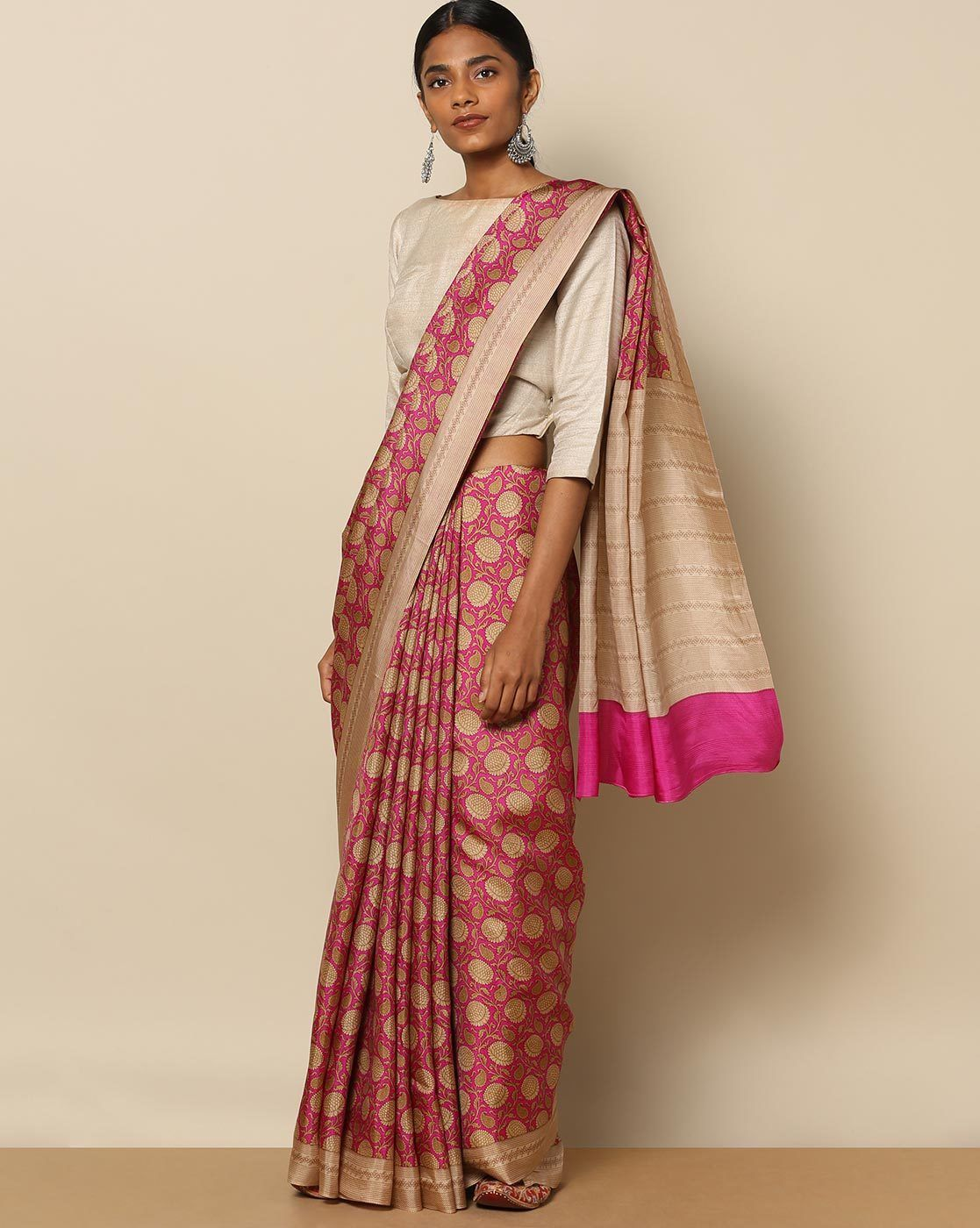 086229bead Buy Rudrakaashe-MSU Women Multicoloured Soft Pure Silk Floral Jaal Print  Saree   AJIO