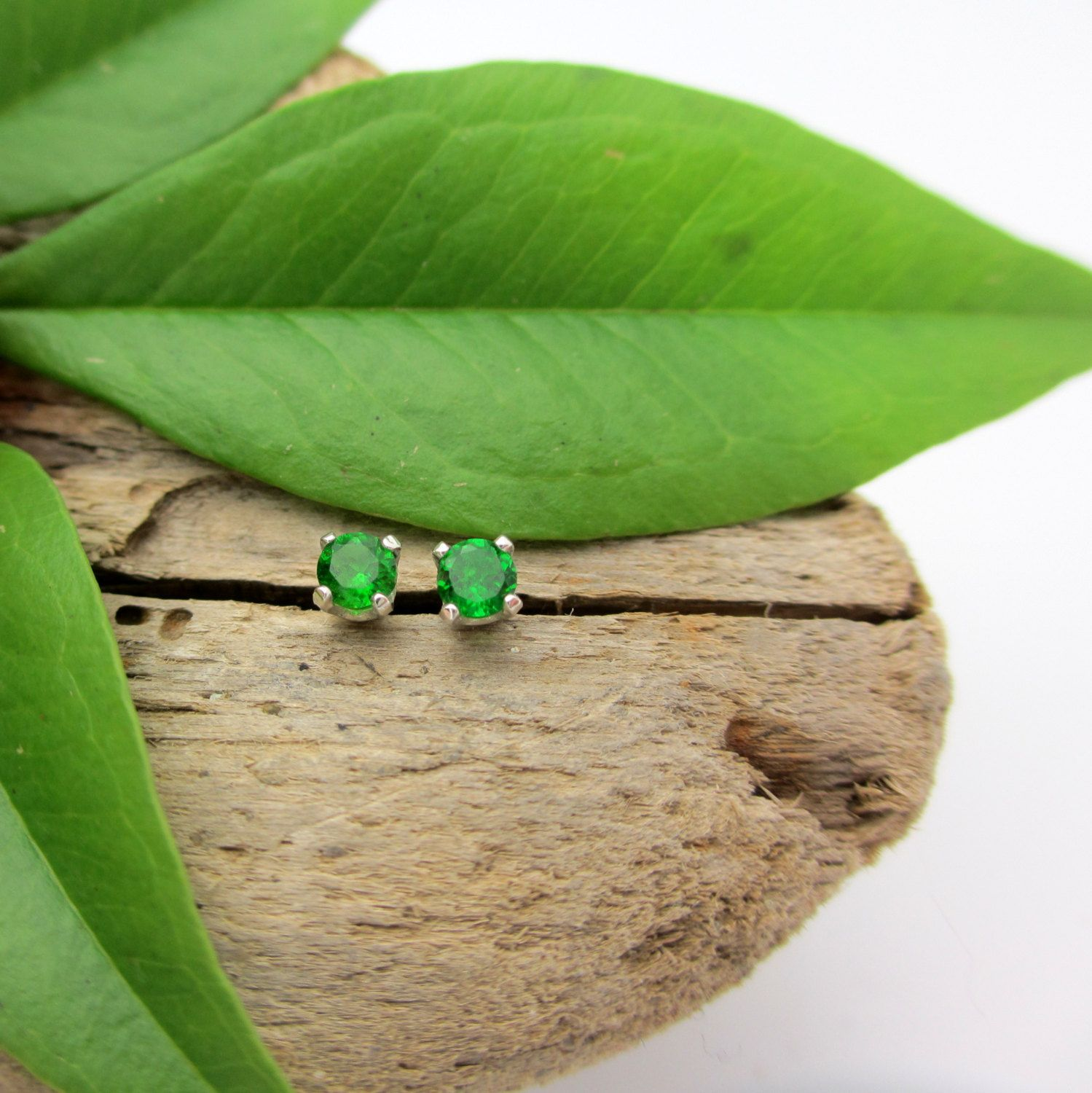 Chrome Diopside Earrings in Gold Silver Platinum or by jetflair, $35.00