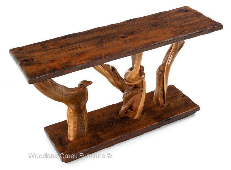 Fantastic Barnwood Log Sofa Table Aged Barn Wood Juniper Sofa Table Spiritservingveterans Wood Chair Design Ideas Spiritservingveteransorg