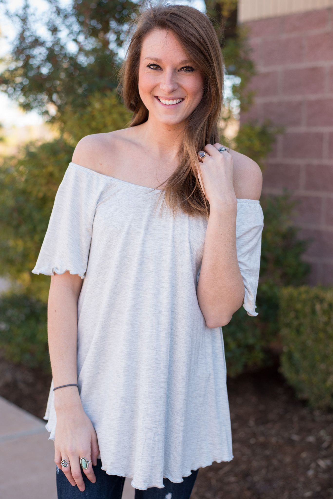 8b2884461bb1 Piko off shoulder short sleeve swing top light heather grey from Lush  Fashion Lounge