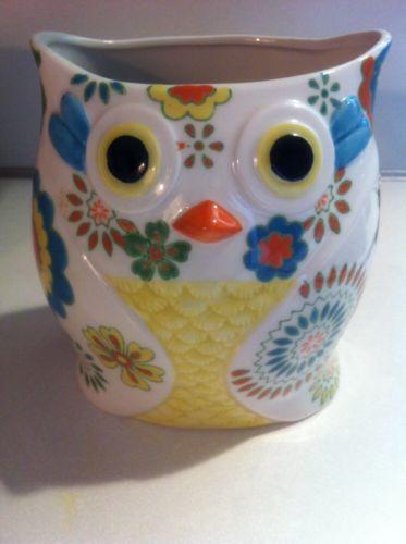 Pier One Owl Canister Vase Holder Boho Kitchen Hand Painted Stoneware  Utensil