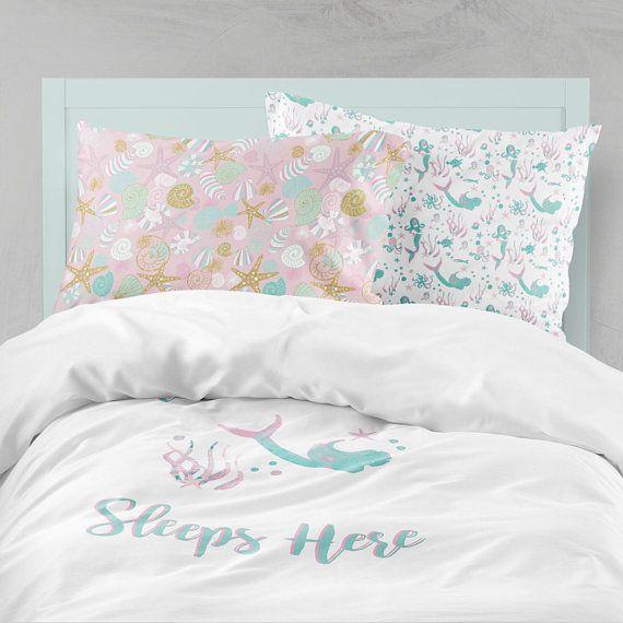 Mermaid Bedding Pink Aqua Bedding Mermaid Girl Room Ocean Bedding Set Mermaid Duvet Cover Bedding Sets Kids Twin Size Duvet Aqua Bedding Kids Room Curtains Bed Linens Luxury