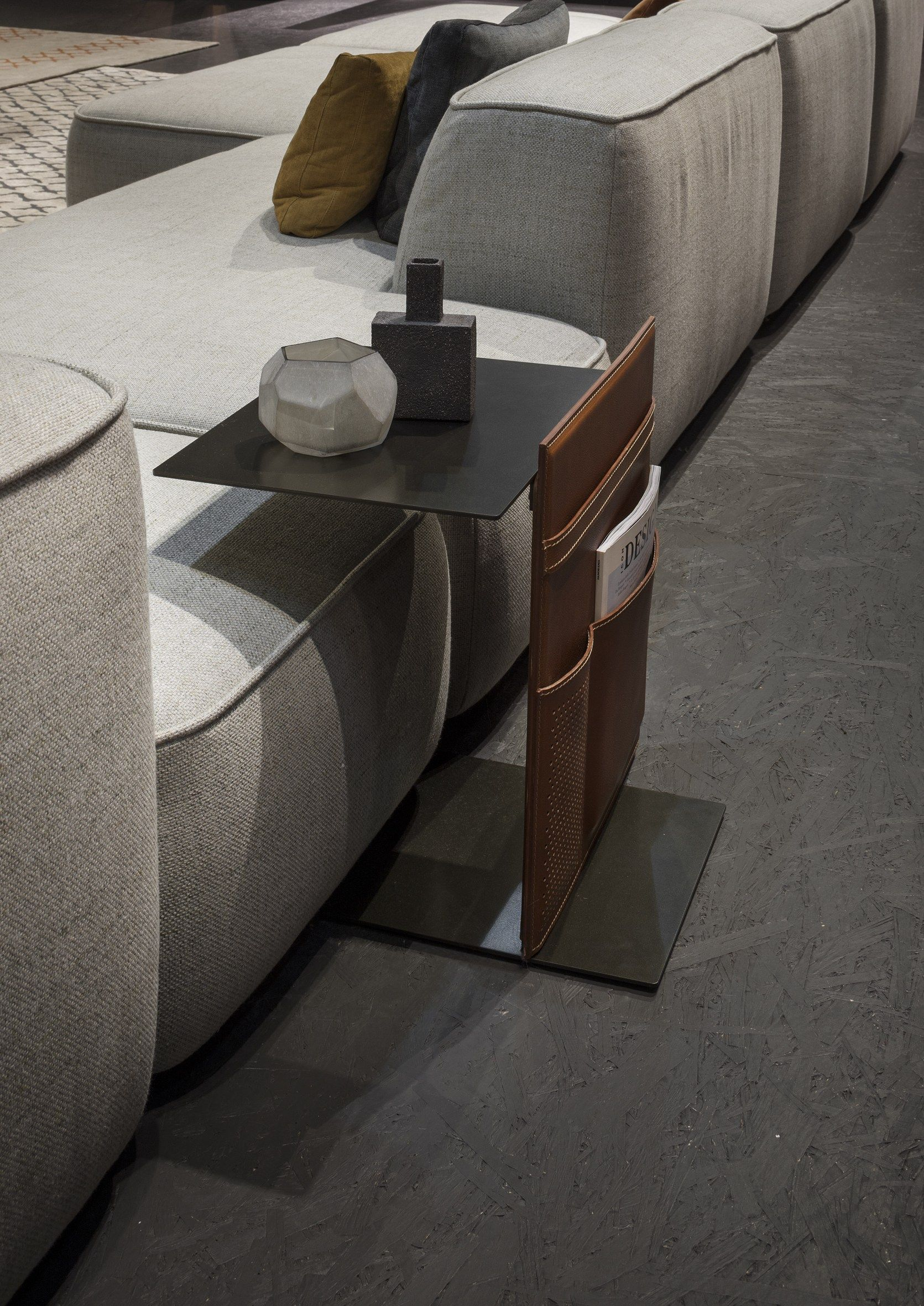 Metal side table with integrated magazine rack note by lema design lucidipevere