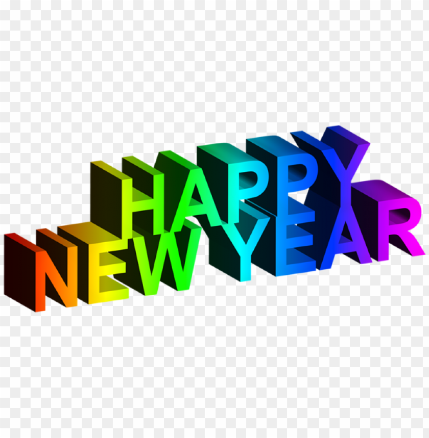 Happy New Year 3d Colorful Text Png Image With Transparent Background Png Free Png Images Happy New Year Download Png Text Happy New Year
