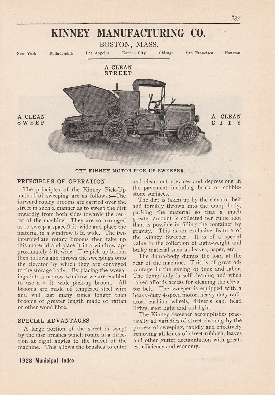 1928 Kinney Manufacturing Co Boston MA Ad Motor Pick Up Sweeper A ...