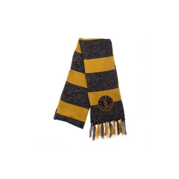 FANTASTIC BEASTS AND WHERE TO FIND THEM NEWT SCAMANDER Black Yellow Jacquard Scarf featuring polyvore women's fashion accessories scarves fantastic beasts harry potter wrap shawl yellow shawl yellow scarves