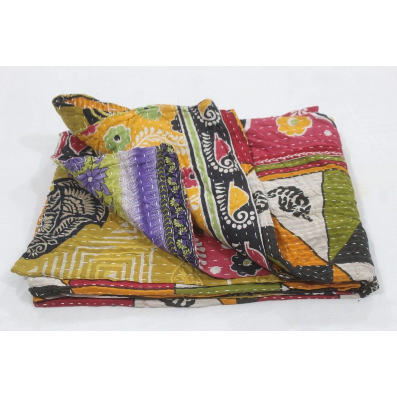 Vintage Patchwork Kantha Quilt Blanket Indian Bedspread Coverlet Throw Art