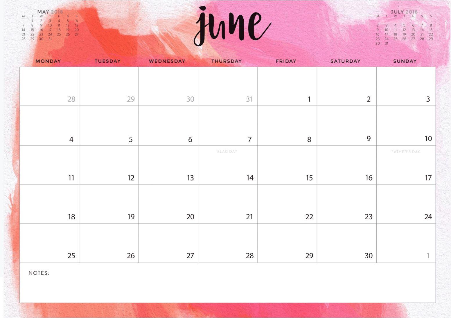 Stylish June Month 2018 Calendar Designs Calendar Design