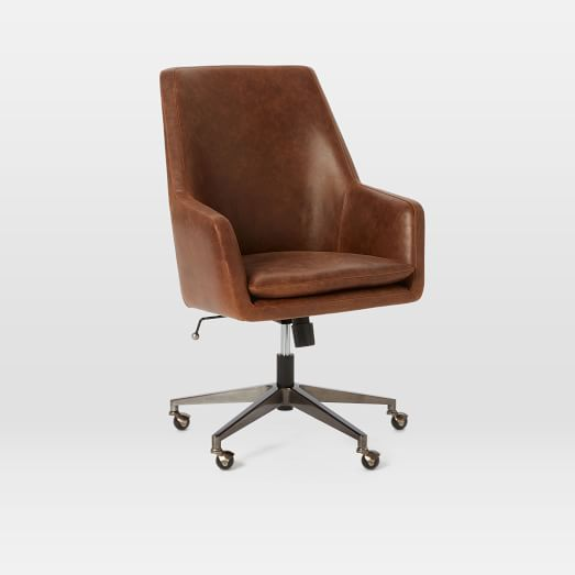 High Back Helvetica Desk Chair Leather Molasses Burnished Bronze