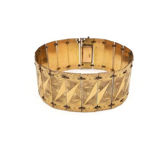 Art Deco Rolled Gold Plated Wide Bracelet Kollmar Jourdan
